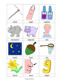 Dit werkblad en nog veel meer in de categorie letters leren kun je downloaden op de website van Juf Milou. School Posters, Letter N, Algebra, Primary School, Spelling, Kids Rugs, Teaching, Comics, Logos