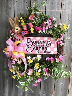 Beautiful ! Easter bunny wreath,spring wreath, door wreath#ad