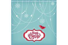 Christmas Clip Art, bird, garlands ~ Illustrations on Creative Market