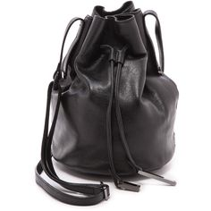 Halston Heritage Bucket Bag - Black ($277) ❤ liked on Polyvore featuring bags, handbags, shoulder bags, bucket bag, sac, leather purse, genuine leather shoulder bag, slouch shoulder bag and drawstring shoulder bag