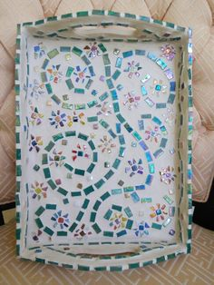Mosaic Tray mosaic with iridescent glass tiles mosaic