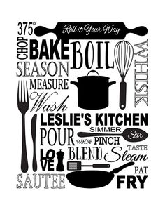 Items similar to Kitchen Subway Art Print - Inspirational Quote Modern Wall Art - 11 x 14 Personalized Name Housewarming Gift Holiday Gift on Etsy Vinyl Crafts, Vinyl Projects, Subway Art, Silhouette Cameo Projects, Kitchen Art, Bakers Kitchen, Cricut Vinyl, Modern Wall Art, Word Art