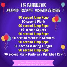 15 Minute Jump Rope Jamboree!!  Amazing Cardio Workout!!  Full Body Burn!