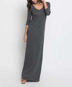 AUTUMN PERFECT PIECES--Loving this Charcoal Three-Quarter Sleeve Maxi Dress on #zulily! #zulilyfinds