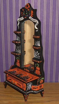 It is signed - Leslie Lassige (that's me!). and dated on the back. Dollhouse Miniature Halloween Hall Tree. Here's a cheery Halloween hall tree, with lots of cats, bats, pumpkins, haunted houses and more. | eBay!