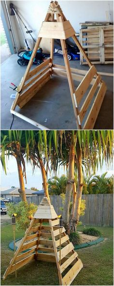 Repurposing of the wood pallet can classy be used when it comes over with the manufacturing of the teepee creation piece. Right through this image, we will show you out with this teepee idea where it brings out to be the suitable option to be the part of the house outdoor areas beauty.