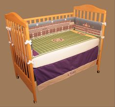 purple & gold baby bedding any lsu fans out there? #geauxtigers