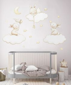 ideas wall decals for girls room baby cribs Star Nursery, Nursery Wall Decals, Nursery Room, Nursery Decor, Wall Decor, Nursery Fabric, Baby Fabric, Bedroom, Deco Kids