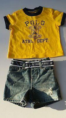 Infant boys size 3months Ralph Lauren Polo 2pc short set bnwt yellow blue