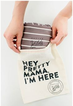 Muslin drawstring bag packaging.. Love the quirky message !