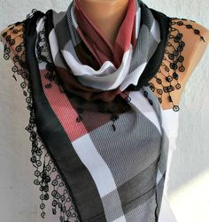 Plaid  Scarf  Cotton Scarf Headband Necklace Cowl by fatwoman, $15.00