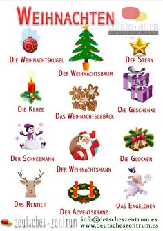 Weihnachten / vocabulario / Wortschatz - New Ideas German Grammar, German Words, Spanish Lessons Online, Learning Maps, German Resources, Deutsch Language, Germany Language, Asl Sign Language, German Language Learning