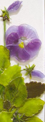Fused glass flowers and leaves using glass powders.  Creating Imagery with Powders - Kiln