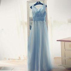 Princess a-line blue long tulle prom dress evening dress