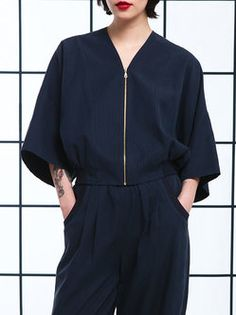 Plain Cotton 3/4 Sleeve Casual Cropped Jacket