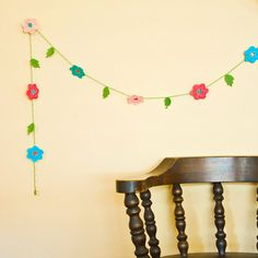 Crocheted Spring Flower Garland - Mothers Day - Bobbi Lewin
