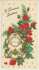 Vintage Rosas Rojas helechos Jardín Ramo Blanco Azul Reloj de tarjeta de impresión de oro