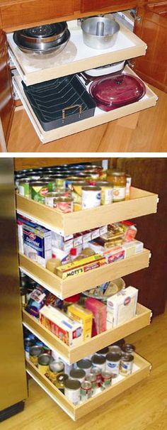 Pull-Out Cabinet Drawer Shelves, Wooden Kitchen Shelf Drawers | Solutions