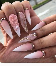 "If you're unfamiliar with nail trends and you hear the words ""coffin nails,"" what comes to mind? It's not nails with coffins drawn on them. It's long nails with a square tip, and the look has. Stiletto Nail Art, Cute Acrylic Nails, Coffin Nail, Stylish Nails, Trendy Nails, Ombre Nail Designs, Nail Art Designs, Dope Nails, My Nails"