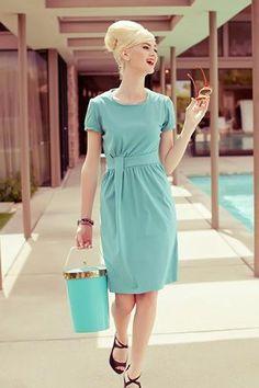 Summer Wind Dress Blue $84.00 AT vintagedancer.com