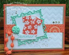 Do the hula ; Spellbinders Nest.  Fleur de Lis squares ; Chevron embossing folder