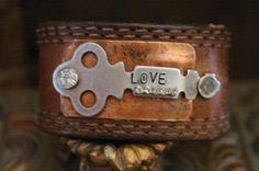 LOVE Upcycled Cuff by BelleVia on Etsy, $36.00
