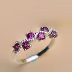 cf5cac5127b 2016 New Graceful Natural Purple Garnet Half Eternity Promise Ring Fininho