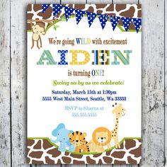 Safari BIrthday Invitations, Jungle Animal Theme, Printable Invite for Boy or Girl Birthday too