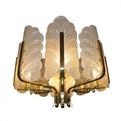 """Hollywood Regency Chandelier Italian Glass Barovier Paris loft"""
