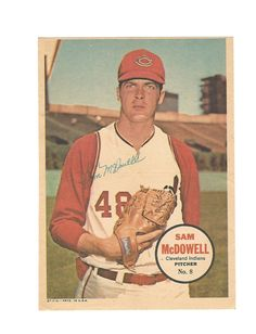 1967 topps cleveland indians sam mcdowell baseball poster insert no. 8 from $6.0