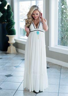 AMAZING White Maxi Dress! Spring Fashion, Boutique, Online Boutique, Women's Boutique, Modern Vintage Boutique, Dress, White Dress, Black Trim Dress, Spaghetti Strap Dress, Maxi Dress, Cute, Fashion