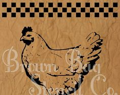 Vintage Feed Sign Stencils | Checkered Chicken Stencil - 12x14 - mylar stencil - Chicken Stencil ...