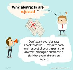 Why #abstracts are #rejected?  Don't want your #abstract knocked down. Summarize each main aspect of your #paper in the abstract. #Writing an #abstract is a skill that you make you an expert.  #Manuscriptedit #Writing: http://www.manuscriptedit.com/writing
