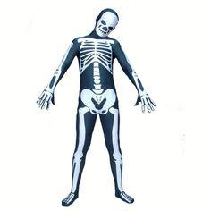 Full Body Skeleton Costume | Full Body Black And White Skeleton Lycra Spandex Halloween Fancy Dress ...