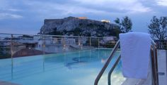 Athens Electra Palace rooftop pool, with view of acropolis