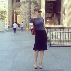 work wear: t-shirt and fit and flare skirt