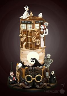 A Nightmare Before Christmas. Little Cherry Cake Company (T-Cakes) Unique Cakes, Creative Cakes, Beautiful Cakes, Amazing Cakes, Dr Who Cake, Doctor Who Cakes, Nightmare Before Christmas Cake, Big Wedding Cakes, Cherry Cake