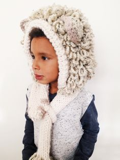 Leroy the Lion Hood Pattern // knitting pattern for lion-themed hooded scarf with hoof and tassel tail // toddler, child, adult sizes // TwoOfWandsShop on Etsy