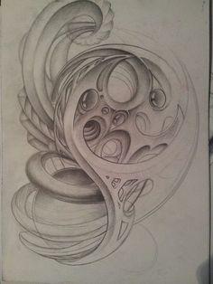Demon Drawings, Tattoo Drawings, My Drawings, Biomech Tattoo, Biomechanical Tattoo, Sea Tattoo, Sketch 4, Bio Art, Dark Star