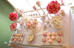 Dessert table ideas from www.babylifestyles.com - love the cupcakes and champagne theme