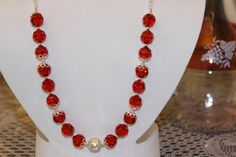 Red Glass Beaded Necklace with SilverPlated by AngeleDesignsLA, $32.00