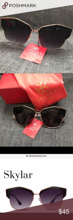 VELEVET EYEWEAR Skylar Sunglasses Beautiful sunnies in a great on trend style! Black with Rose gold. Comes with paper box and cloth pouch, Brand new with tag, never worn, excellent condition. Smoke/pet free home. Velvet Eyewear Accessories Sunglasses