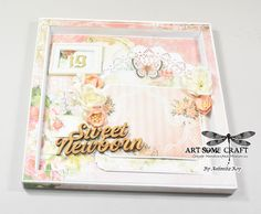 Shabby chic baby announcement card.