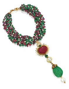 Jayne Wrightsman 18 karat gold, emerald,ruby, spinel, cultured pearl and diamond $212,500.00