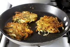 Japanese Vegetable Pancakes - flipped and craggy and crisp by smitten, via Flickr