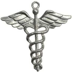 """Widely associated with the gods Hermes and Mercury the Caduceus is a powerful symbol of communication, guidance. Has cord. Pewter. 1 1/2"""" x 1 1/2"""" . Made in U.S.A."""