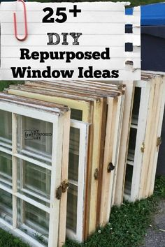 Window Projects a roundup of over 25 repurposed window project ideas to inspire you to save those windows from the landfill. Projects a roundup of over 25 repurposed window project ideas to inspire you to save those windows from the landfill. a roundup of Old Window Frames, Window Shelves, Old Window Ideas, Door Ideas, Repurposed Window Ideas, Repurposed Shutters, Old Window Art, Antique Windows, Vintage Windows