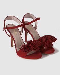 Sandalias de tacón de mujer de Lodi en ante rojo