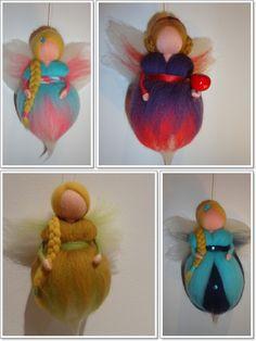 Mini fadas feltradas com agulha by TERRA DE CORES 3d Figures, Felt Fairy, Fairy Dolls, Felt Crafts, Elves, Needle Felting, Projects To Try, Wool, Christmas Ornaments