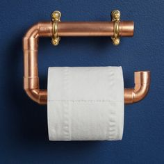 Industrial Copper Pipe Toilet Roll Holder by Lime Lace, the perfect gift for Explore more unique gifts in our curated marketplace. Vintage Industrial, Industrial Style, Toilet Roll Holder Industrial, Loo Roll Holders, Industrial Toilets, Wall Mounted Toilet, Copper Wall, Copper Tubing, Dream Furniture